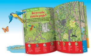 Surprise : des pages à trous pour s'amuser à deviner qui se cache dans la jungle.