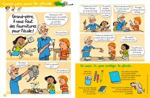 """Grand-père sauve la planète – Grand-père pourquoi tu roules doucement ?"""" Texte : Bernard Fichou. Illustration : Robin. Youpi, août 2017."""