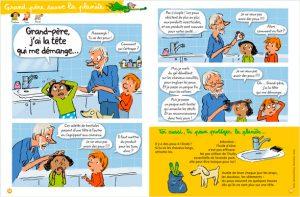 """""""Grand-père sauve la planète – Grand-père, j'ai la tête qui me démange…"""" Texte : Bernard Fichou. Illustration : Robin. Youpi, octobre 2017."""