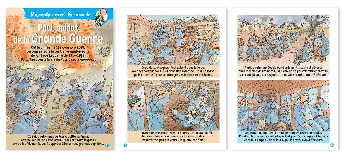 """Youpi n°362, novembre 2018 : """"Raconte-moi le monde : Paul, soldat de la Grande Guerre…"""". Texte : Catherine Loizeau. Illustration : Frédéric Joos (extrait)."""