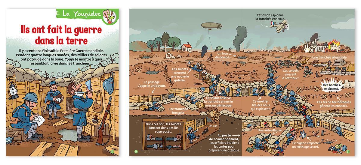 """Youpi n°362, novembre 2018 : """"Le Youpidoc : """"Ils ont fait la guerre dans la terre"""". Conception et texte : Bertrand Fichou. Illustration : Didier Balicevic (extrait)."""