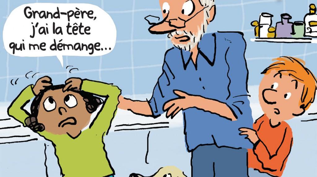 """""""Grand-père sauve la planète"""" : Comment se débarrasser des poux ? Illustration : Robin"""