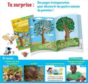 Ta surprise : des pages transparentes pour découvrir les quatre saisons du pommier ! Youpi n°372, septembre 2019