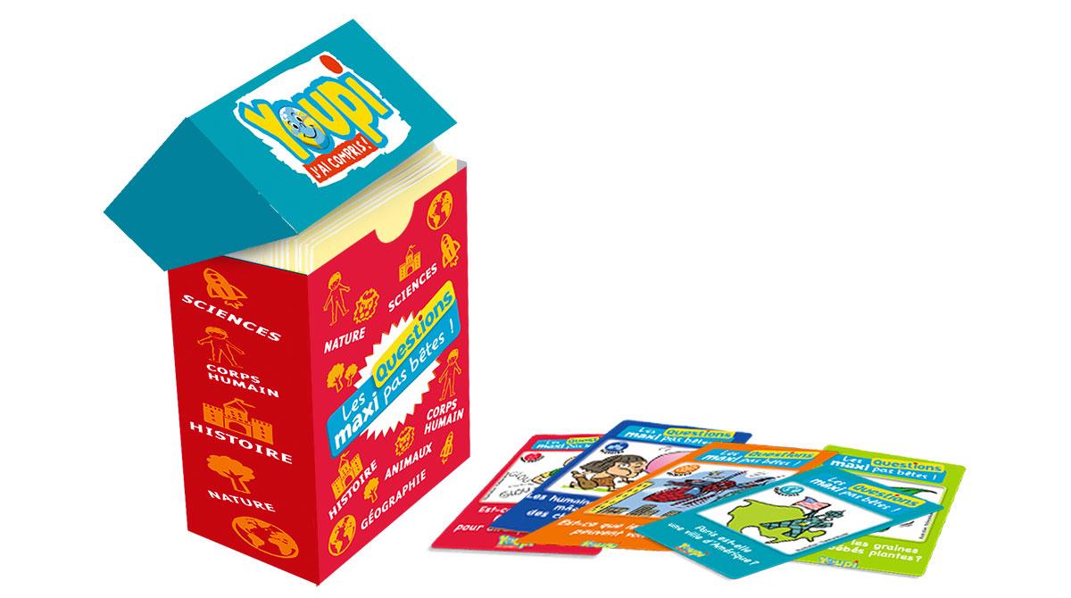 Fabrique une boîte pour ranger 72 cartes de Questions maxi pas bêtes