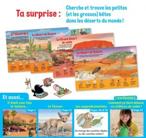 Ta surprise : cherche et trouve les petites et les grosses bêtes dans les déserts du monde ! Youpi n°371, août 2019