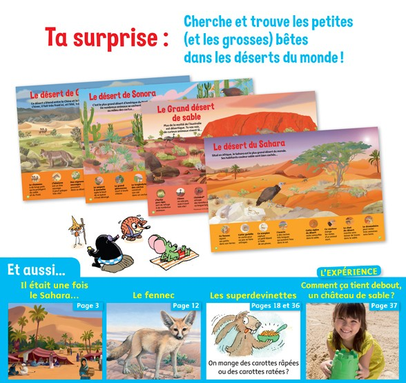 Ta surprise : cherche et trouve les petites et les grosses bêtes dans les déserts du monde !