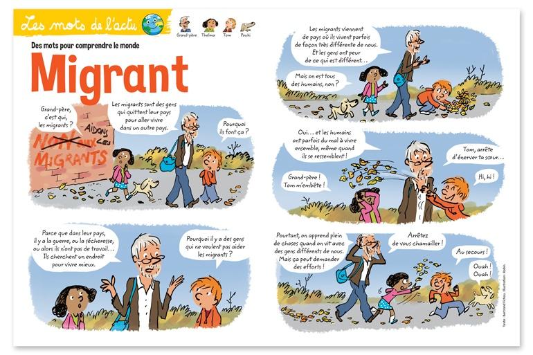"""Les mots de l'actu, des mots pour comprendre le monde - Migrant"", Youpi n°373, octobre 2019. Texte : Bertrand Fichou. Illustration : Robin."