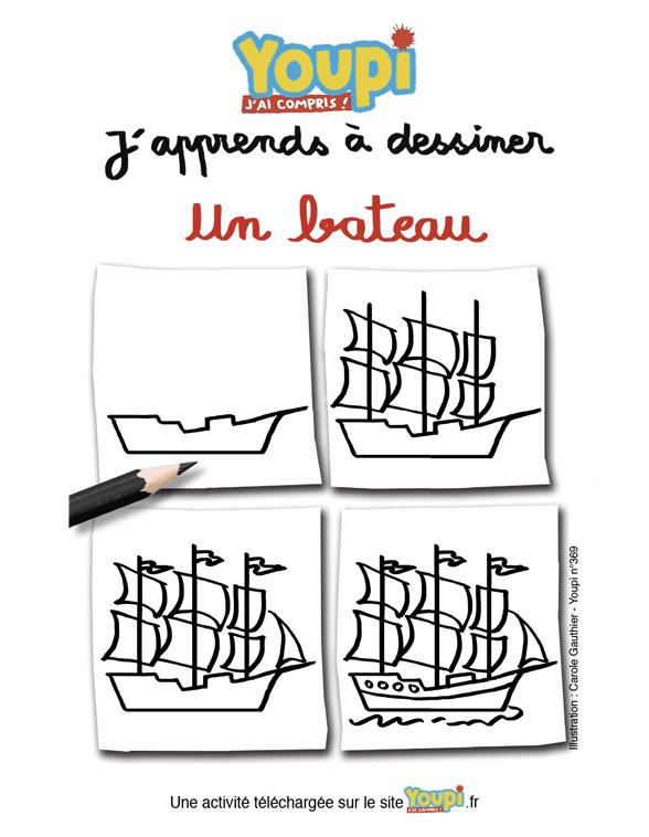 J'apprends à dessiner un bateau
