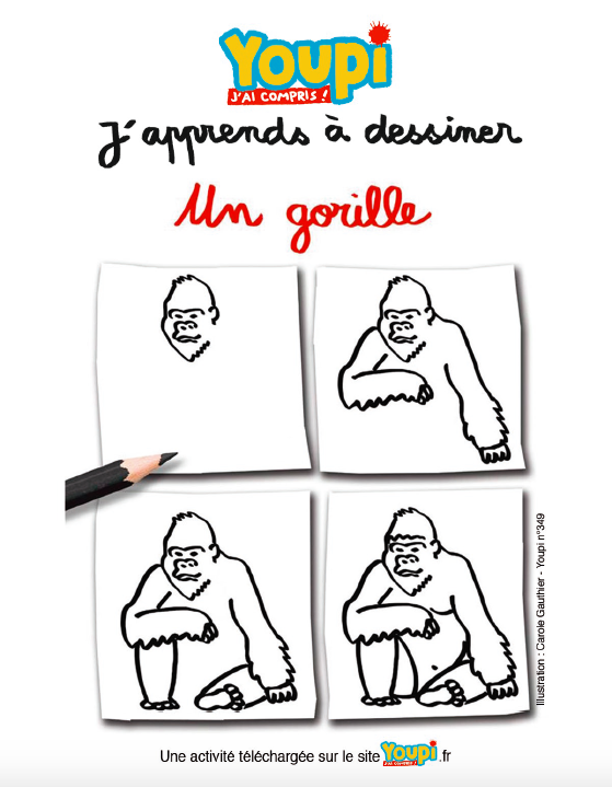 J'apprends à dessiner un gorille