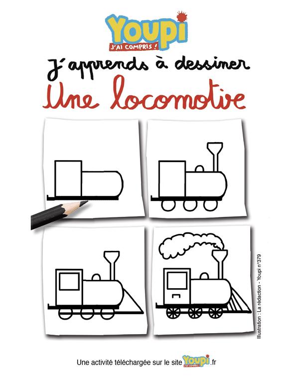J'apprends à dessiner une locomotive