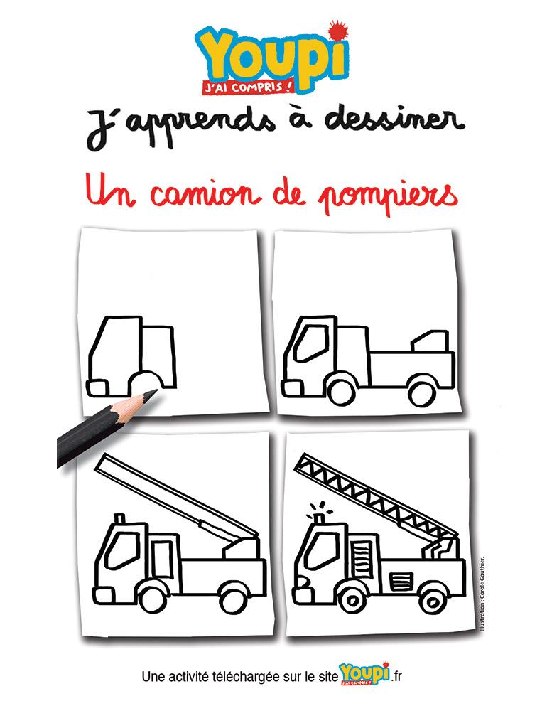 J'apprends à dessiner un camion de pompiers - Carole Gauthier - Youpi n°381 - Juin 2020